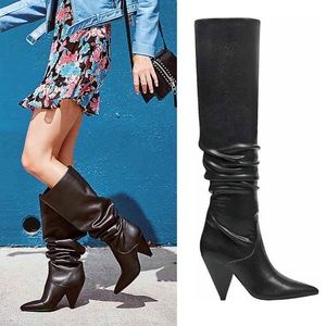 Knee high black boots cone heel boots